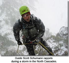 Rappeling in a storm in the North Cascades