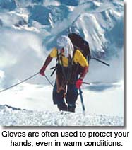Gloves used for sun protection in warm conditions
