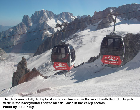 the helbronner lift, highest cablecar traverse in the world