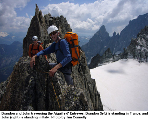 traversing the aiguille d'entreves