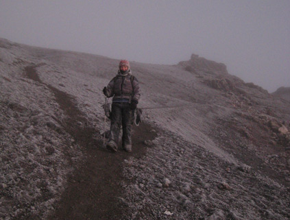 Descending from the summit, just below the crater rim.